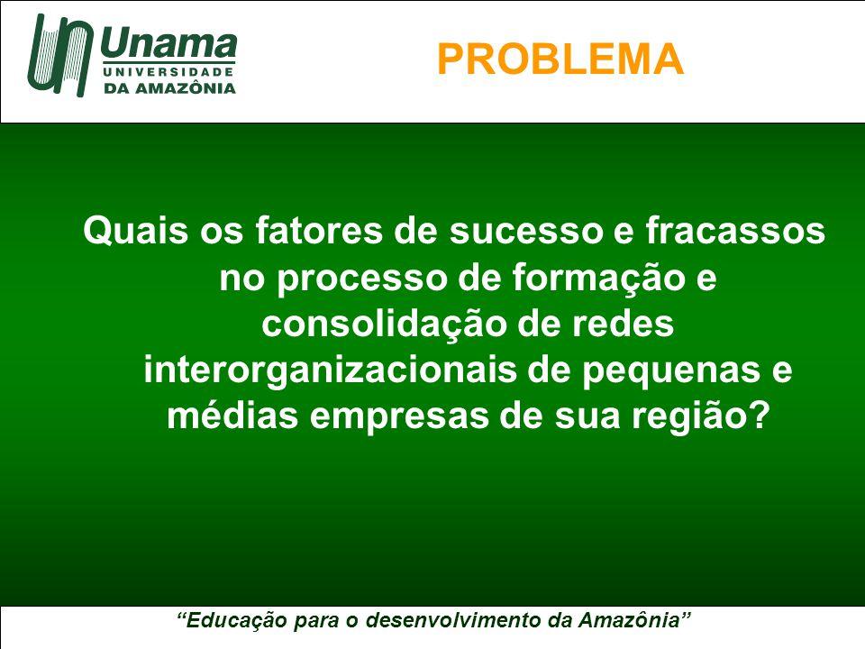 Educação para o desenvolvimento da Amazônia A UNAMA NO BRASIL Quais os fatores de sucesso e fracassos no processo de formação e consolidação de redes interorganizacionais de pequenas e médias empresas de sua região.