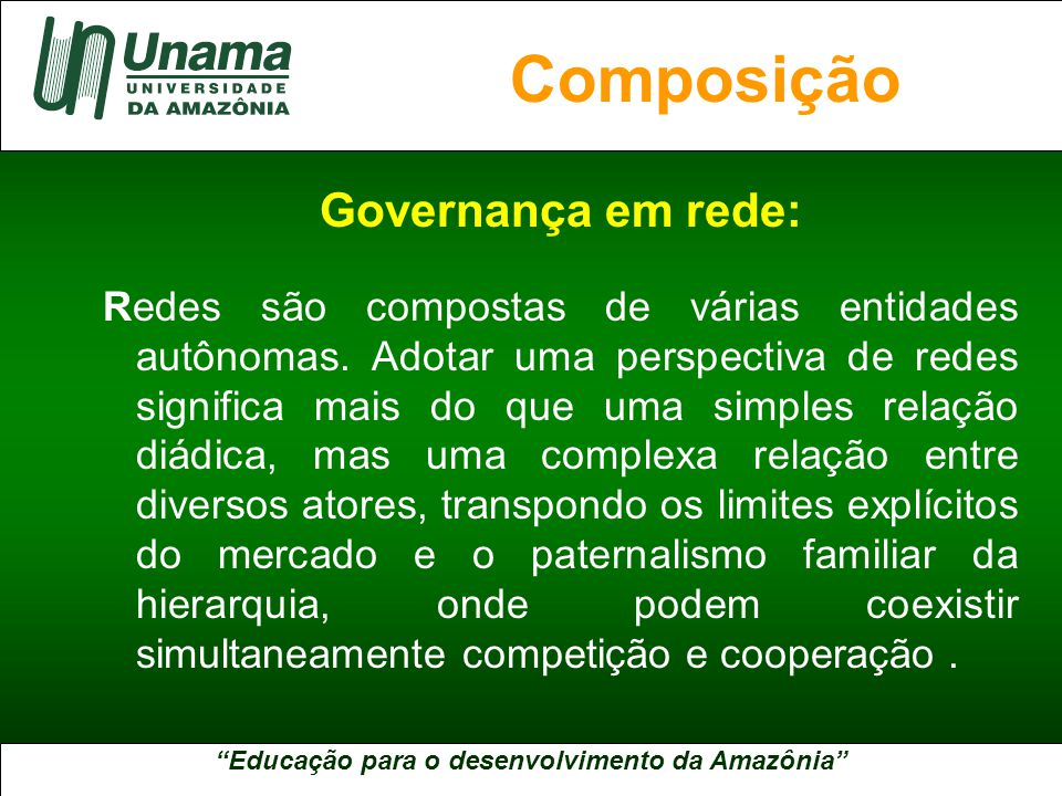 Educação para o desenvolvimento da Amazônia A UNAMA NO BRASIL Na formação de redes: A confiança e a reciprocidade são condições essenciais ao processo.