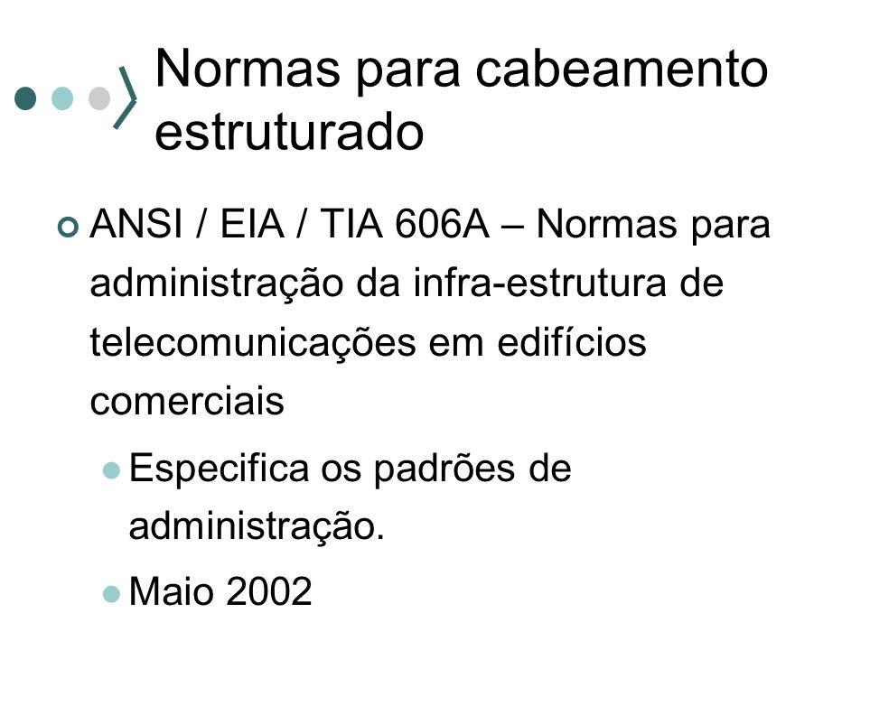 Normas para cabeamento estruturado ANSI / EIA / TIA 606A – Normas para administração da infra-estrutura de telecomunicações em edifícios comerciais Es
