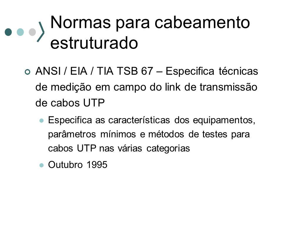 Normas para cabeamento estruturado ANSI / EIA / TIA TSB 67 – Especifica técnicas de medição em campo do link de transmissão de cabos UTP Especifica as