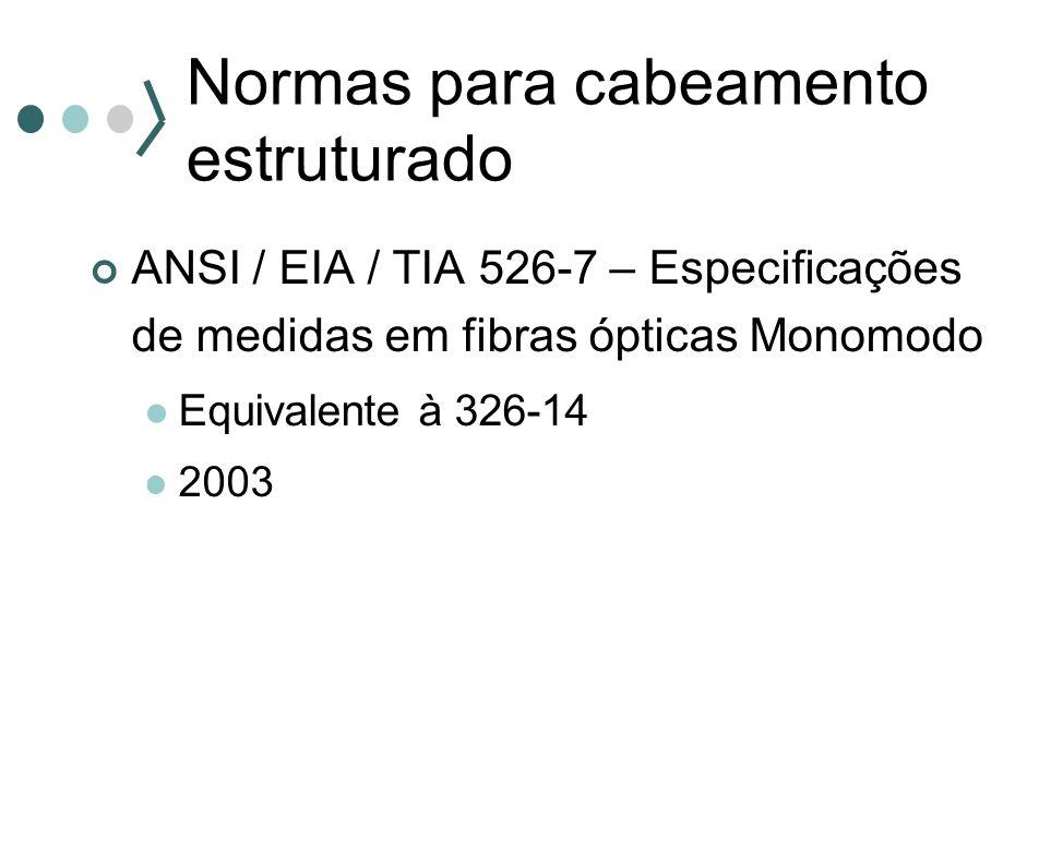 Normas para cabeamento estruturado ANSI / EIA / TIA 526-7 – Especificações de medidas em fibras ópticas Monomodo Equivalente à 326-14 2003