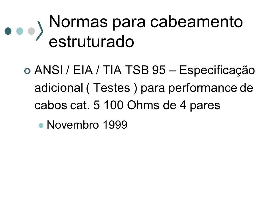 Normas para cabeamento estruturado ANSI / EIA / TIA TSB 95 – Especificação adicional ( Testes ) para performance de cabos cat. 5 100 Ohms de 4 pares N
