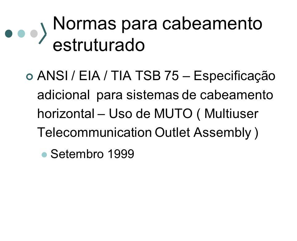 Normas para cabeamento estruturado ANSI / EIA / TIA TSB 75 – Especificação adicional para sistemas de cabeamento horizontal – Uso de MUTO ( Multiuser