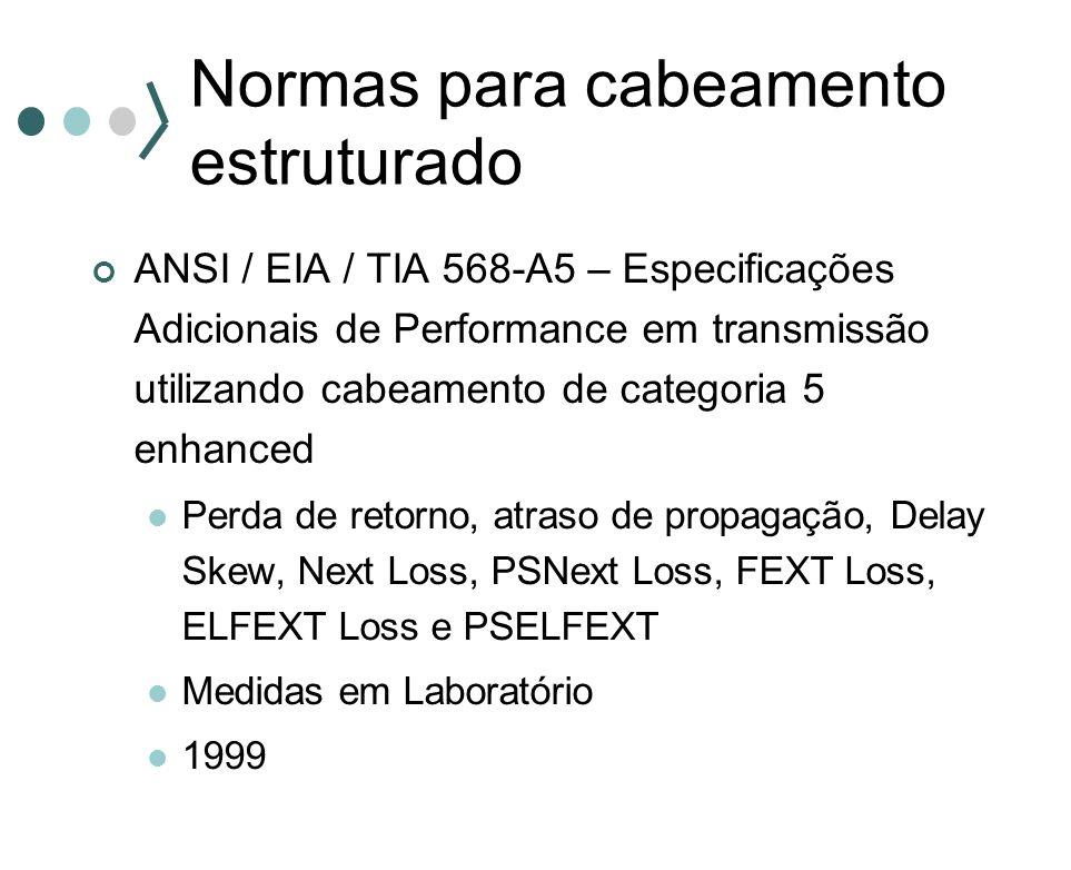 Normas para cabeamento estruturado ANSI / EIA / TIA 568-A5 – Especificações Adicionais de Performance em transmissão utilizando cabeamento de categori