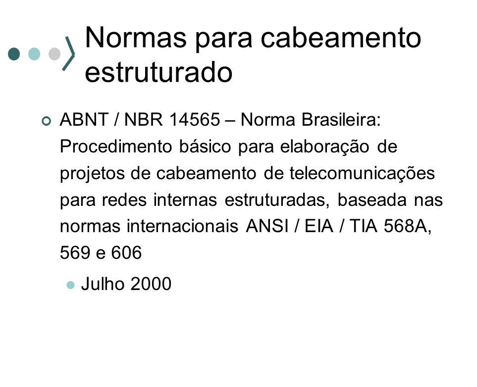 Normas para cabeamento estruturado ABNT / NBR 14565 – Norma Brasileira: Procedimento básico para elaboração de projetos de cabeamento de telecomunicaç