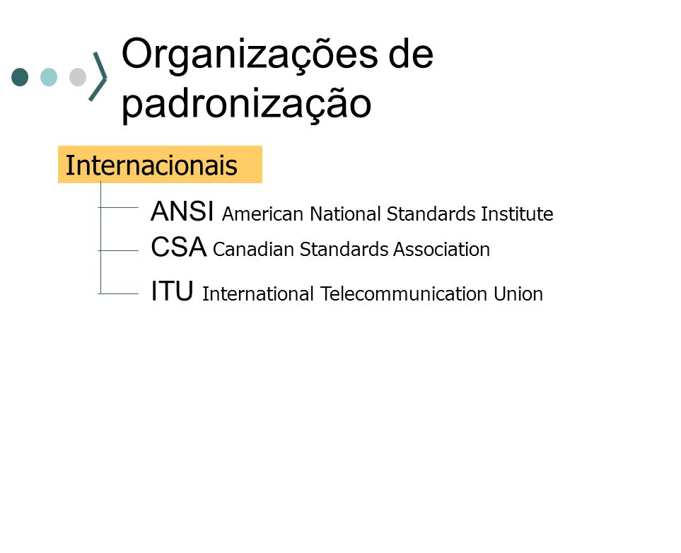 Organizações de padronização Internacionais ANSI American National Standards Institute CSA Canadian Standards Association ITU International Telecommun