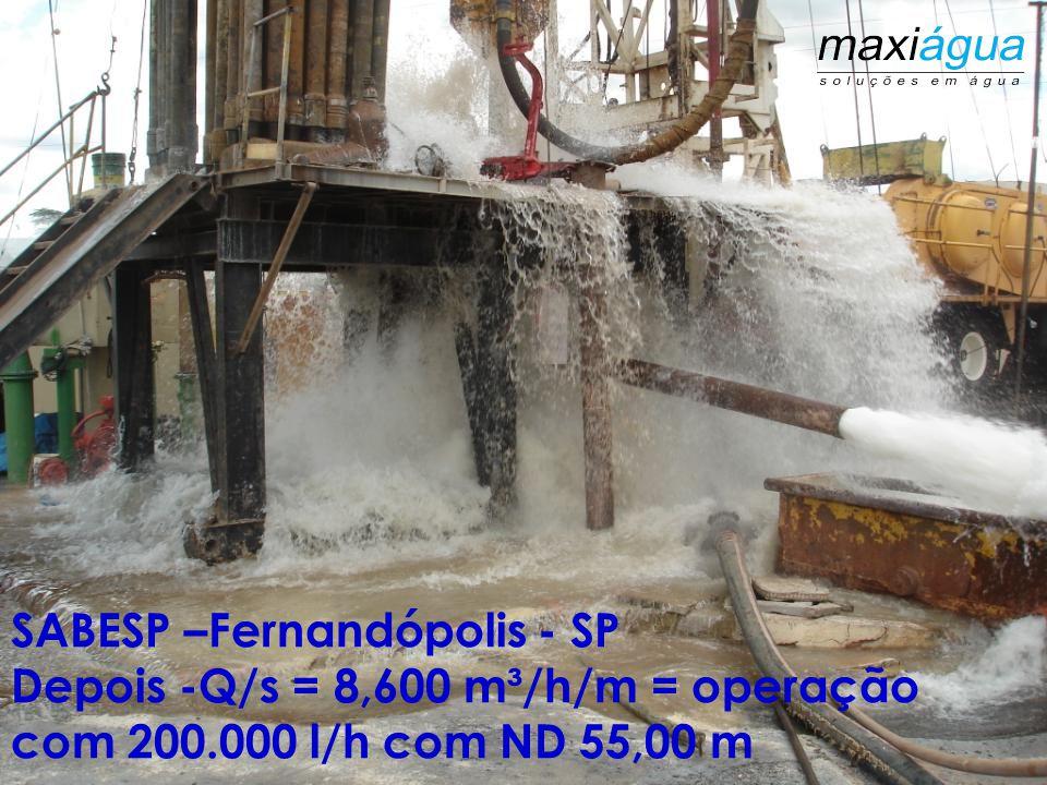 SABESP –Fernandópolis - SP Antes da desincrustação química, 18.000 l/h Q/s = 0,500 m³/h/m= poço paralisado