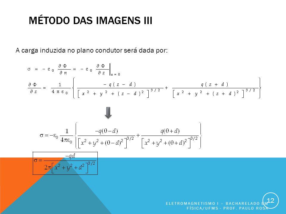 MÉTODO DAS IMAGENS III ELETROMAGNETISMO I – BACHARELADO EM FÍSICA/UFMS - PROF.