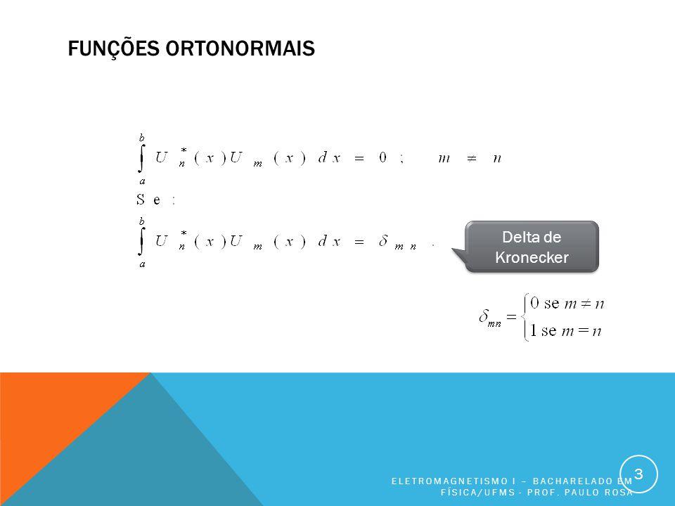 FUNÇÕES ORTONORMAIS ELETROMAGNETISMO I – BACHARELADO EM FÍSICA/UFMS - PROF.