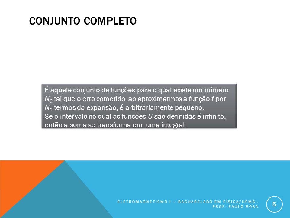 CONJUNTO COMPLETO ELETROMAGNETISMO I – BACHARELADO EM FÍSICA/UFMS - PROF.