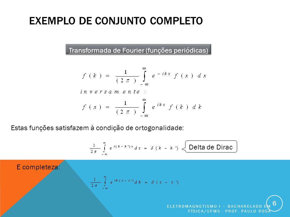 EXEMPLO DE CONJUNTO COMPLETO ELETROMAGNETISMO I – BACHARELADO EM FÍSICA/UFMS - PROF.