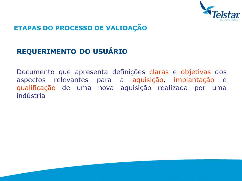 ETAPAS DO PROCESSO DE VALIDAÇÃO PLANO DE VALIDAÇÃO É um documento que resume a filosofia, a intenção, as responsabilidades e o tratamento que será dado para as atividades do programa de validação/qualificação.
