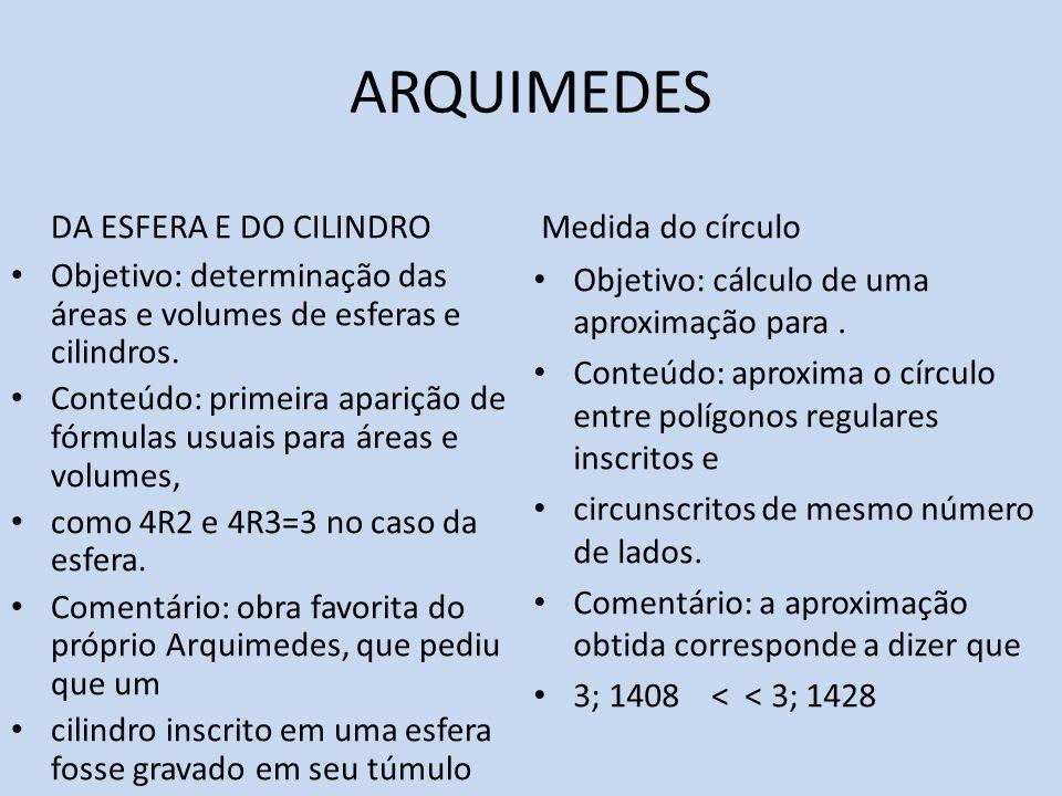 ARQUIMEDES DA ESFERA E DO CILINDRO Objetivo: determinação das áreas e volumes de esferas e cilindros. Conteúdo: primeira aparição de fórmulas usuais p