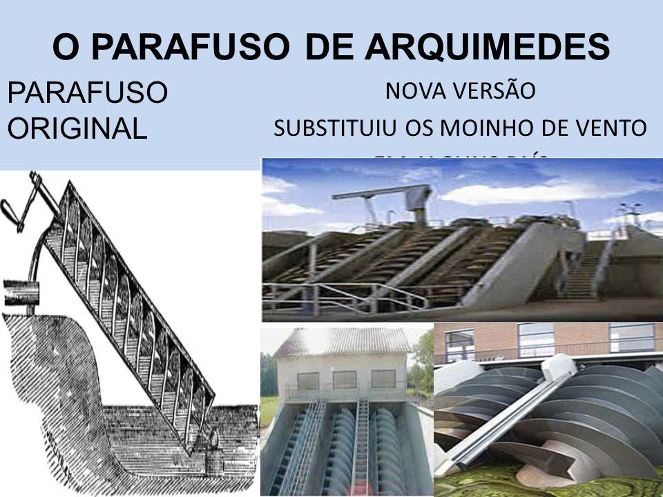 O PARAFUSO DE ARQUIMEDES NOVA VERSÃO SUBSTITUIU OS MOINHO DE VENTO EM ALGUNS PAÍS PARAFUSO ORIGINAL