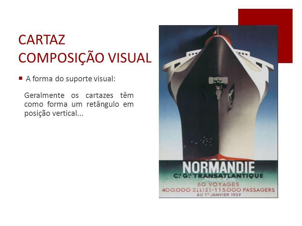 CARTAZ COMPOSIÇÃO VISUAL  A forma do suporte visual: Geralmente os cartazes têm como forma um retângulo em posição vertical...