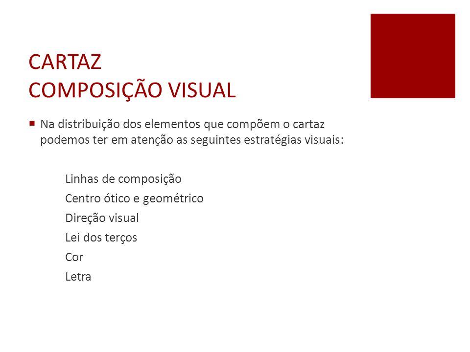 CARTAZ COMPOSIÇÃO VISUAL  Na distribuição dos elementos que compõem o cartaz podemos ter em atenção as seguintes estratégias visuais: Linhas de compo