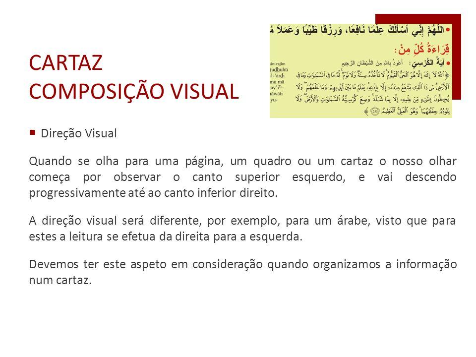 CARTAZ COMPOSIÇÃO VISUAL  Direção Visual Quando se olha para uma página, um quadro ou um cartaz o nosso olhar começa por observar o canto superior es