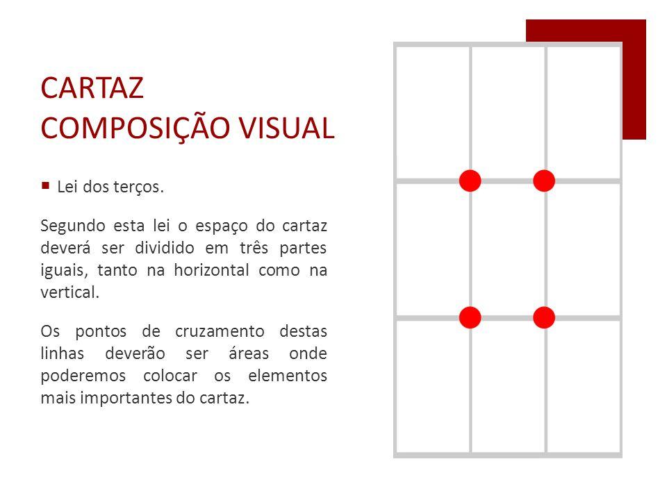 CARTAZ COMPOSIÇÃO VISUAL  Lei dos terços. Segundo esta lei o espaço do cartaz deverá ser dividido em três partes iguais, tanto na horizontal como na