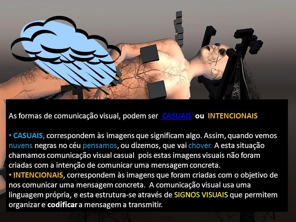 As formas de comunicação visual, podem ser CASUAIS ou INTENCIONAIS CASUAIS CASUAIS, correspondem às imagens que significam algo.