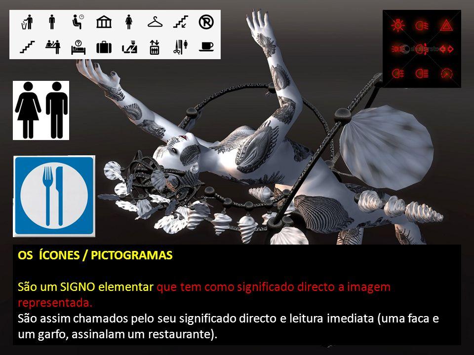 OS ÍCONES / PICTOGRAMAS São um SIGNO elementar que tem como significado directo a imagem representada.