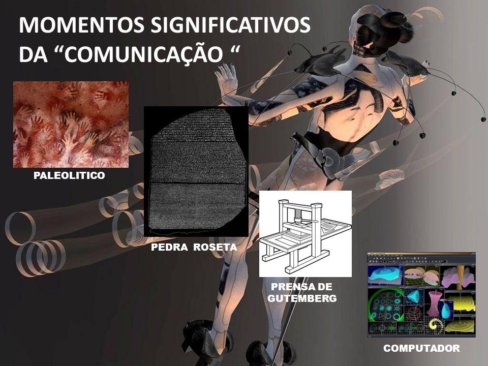 PALEOLITICO PEDRA ROSETA PRENSA DE GUTEMBERG COMPUTADOR MOMENTOS SIGNIFICATIVOS DA COMUNICAÇÃO