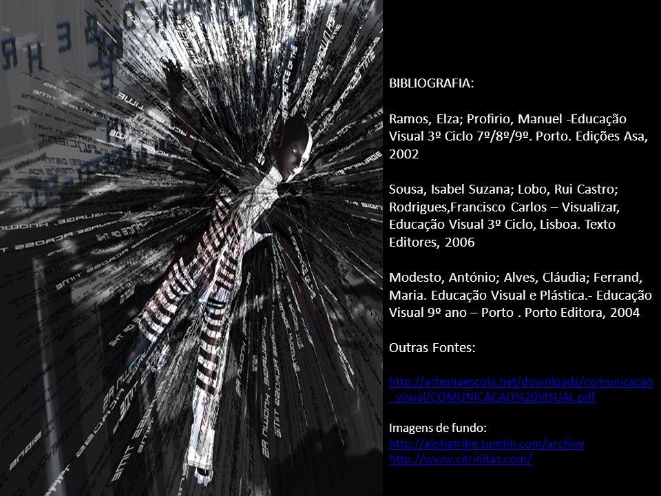 BIBLIOGRAFIA: Ramos, Elza; Profirio, Manuel -Educação Visual 3º Ciclo 7º/8º/9º.