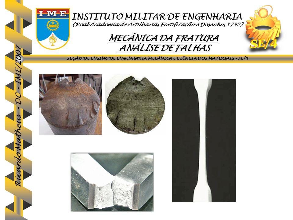 Ricardo Matheus - DC - IME/2007 Efeito da tensão de escoamento no K IC e K IEAC (em água) no aço ASTM 4340 (Peterson, M.H.
