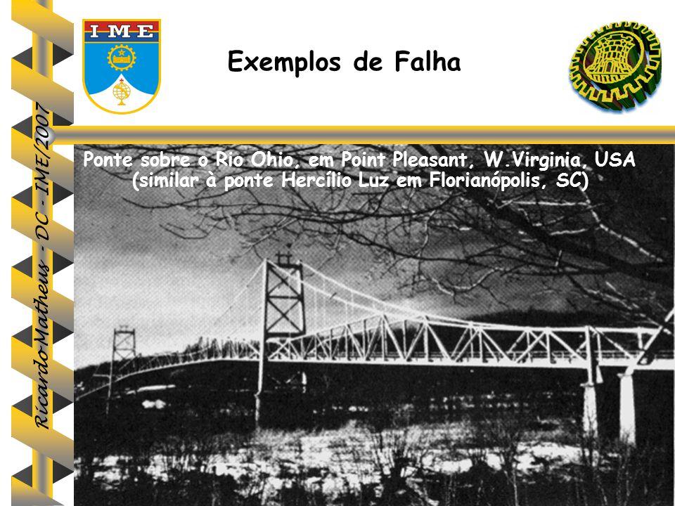 Ricardo Matheus - DC - IME/2007 Exemplos de Falha Ponte sobre o Rio Ohio, em Point Pleasant, W.Virginia, USA (similar à ponte Hercílio Luz em Florianó