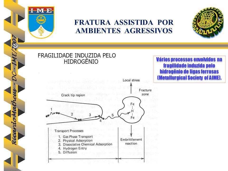 Ricardo Matheus - DC - IME/2007 Vários processos envolvidos na fragilidade induzida pelo hidrogênio de ligas ferrosas (Metallurgical Society of AIME).