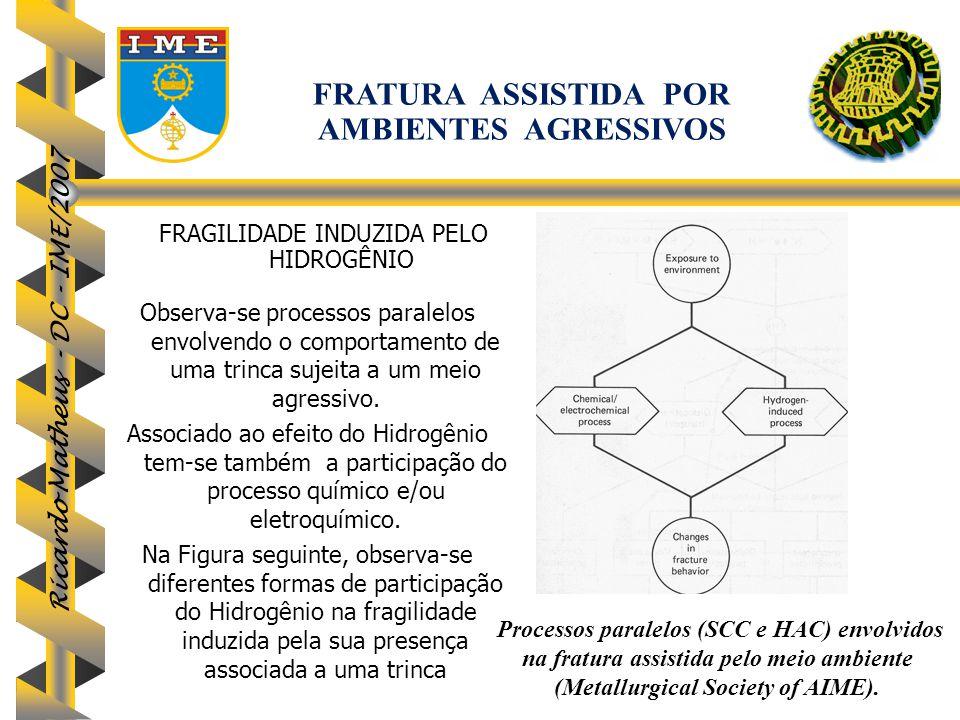 Ricardo Matheus - DC - IME/2007 Observa-se processos paralelos envolvendo o comportamento de uma trinca sujeita a um meio agressivo. Associado ao efei
