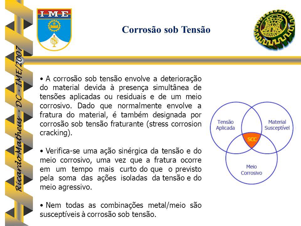 Ricardo Matheus - DC - IME/2007 A corrosão sob tensão envolve a deterioração do material devida à presença simultânea de tensões aplicadas ou residuai