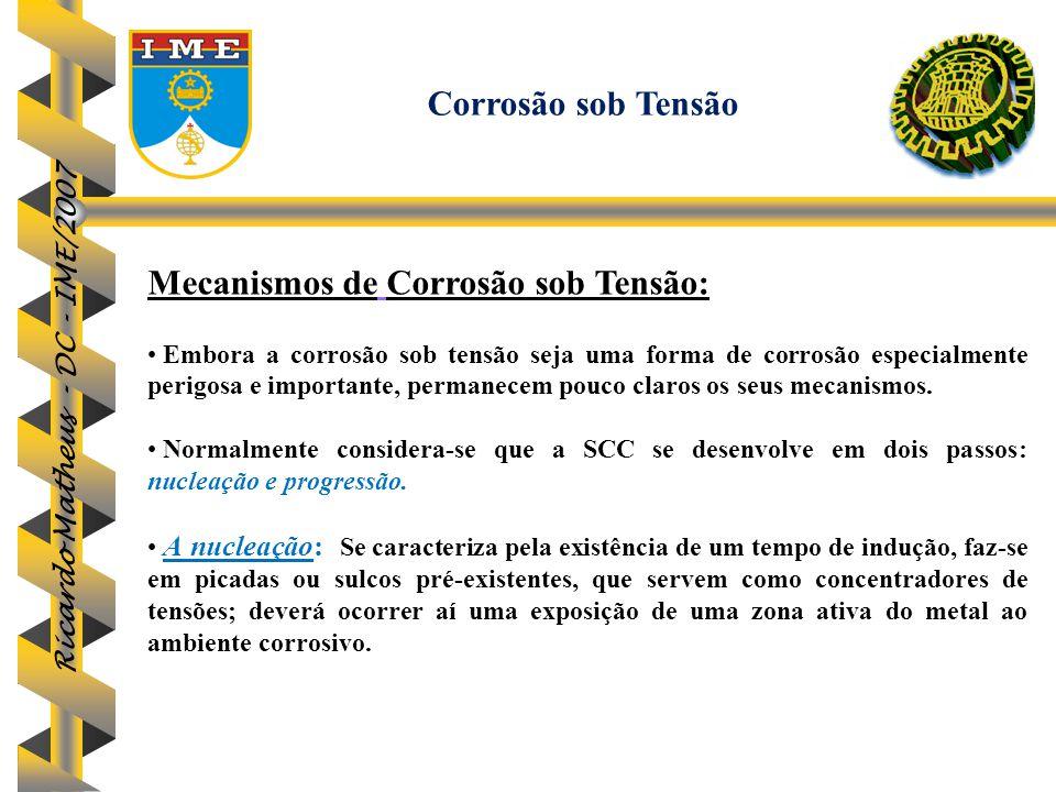 Ricardo Matheus - DC - IME/2007 Mecanismos de Corrosão sob Tensão: Embora a corrosão sob tensão seja uma forma de corrosão especialmente perigosa e im