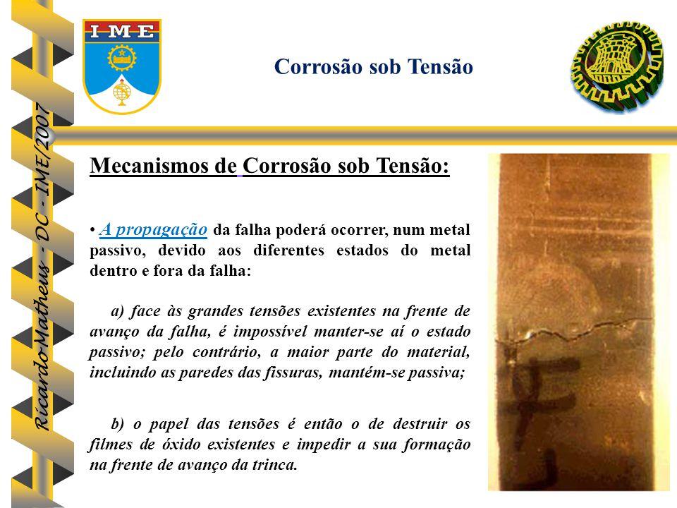 Ricardo Matheus - DC - IME/2007 Mecanismos de Corrosão sob Tensão: A propagação da falha poderá ocorrer, num metal passivo, devido aos diferentes esta
