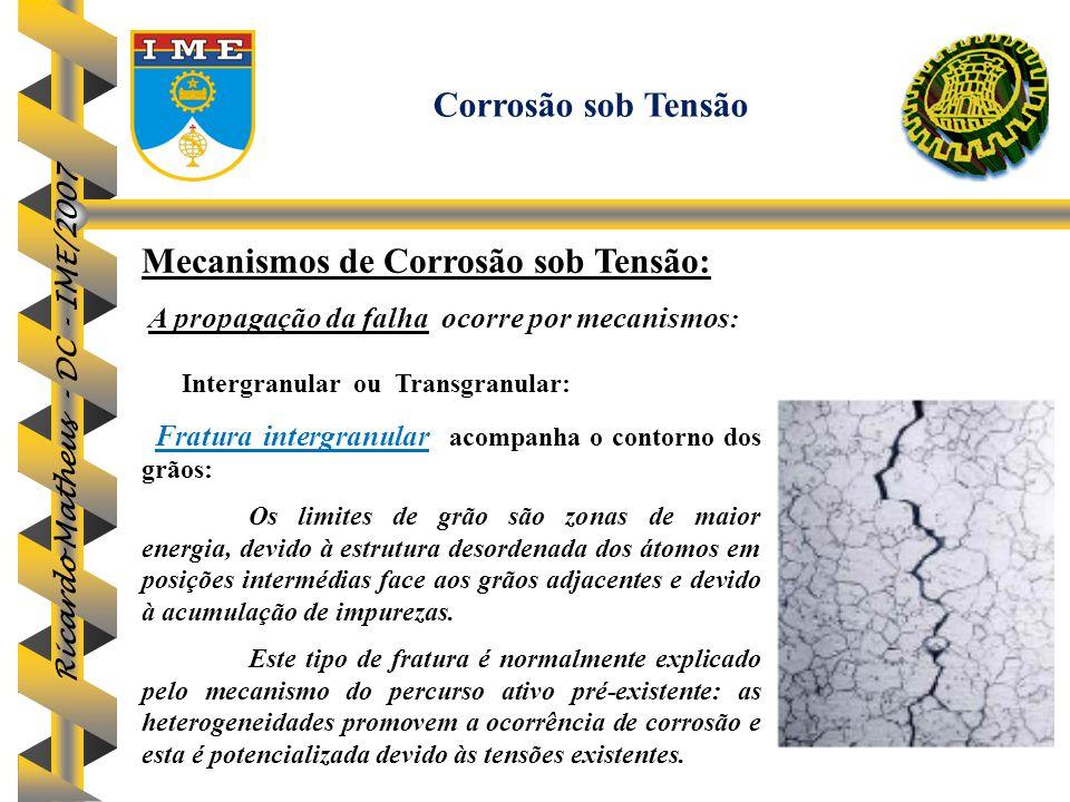 Ricardo Matheus - DC - IME/2007 Mecanismos de Corrosão sob Tensão: A propagação da falha ocorre por mecanismos : Intergranular ou Transgranular: Fratu
