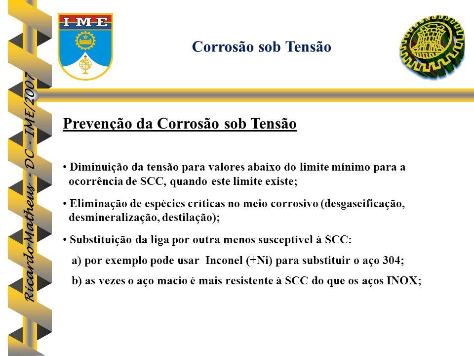 Ricardo Matheus - DC - IME/2007 Prevenção da Corrosão sob Tensão Diminuição da tensão para valores abaixo do limite mínimo para a ocorrência de SCC, q