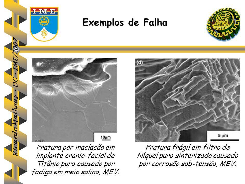 Ricardo Matheus - DC - IME/2007 Fratura por maclação em implante cranio-facial de Titânio puro causado por fadiga em meio salino, MEV. Fratura frágil