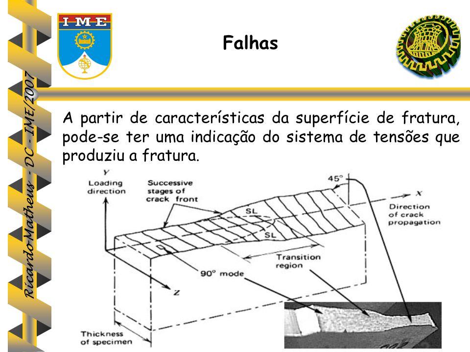 Ricardo Matheus - DC - IME/2007 A partir de características da superfície de fratura, pode-se ter uma indicação do sistema de tensões que produziu a f