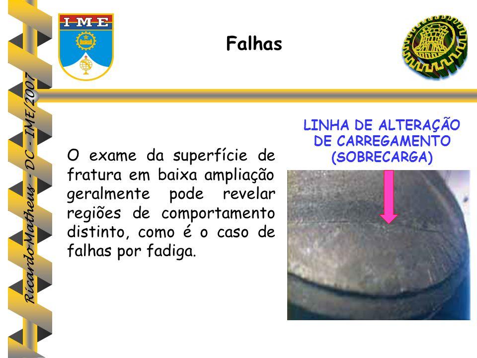 Ricardo Matheus - DC - IME/2007 O exame da superfície de fratura em baixa ampliação geralmente pode revelar regiões de comportamento distinto, como é
