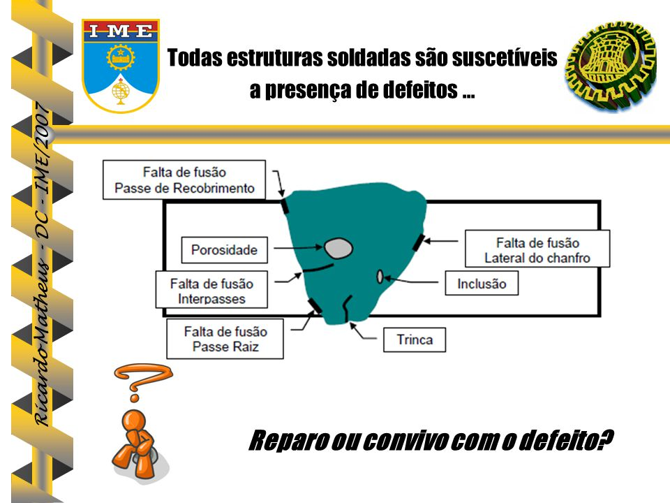 Ricardo Matheus - DC - IME/2007 Todas estruturas soldadas são suscetíveis a presença de defeitos... Reparo ou convivo com o defeito?