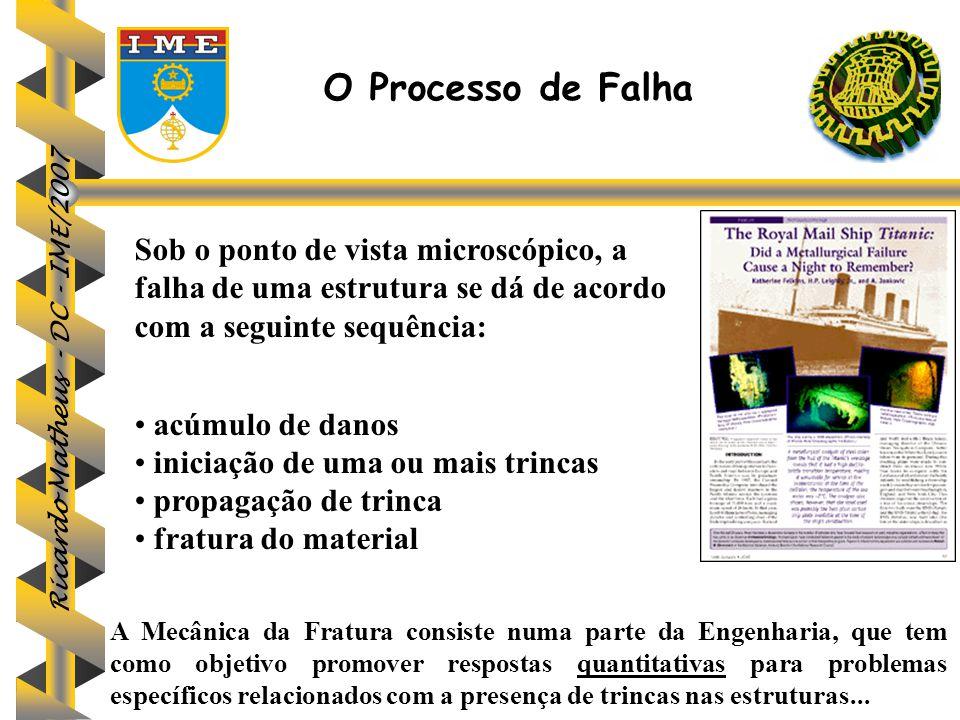 Ricardo Matheus - DC - IME/2007 O sucesso da aplicação da Mecânica da Fratura aos problemas de fratura estática fez com que, fosse estendida aos casos em que há propagação sub-crítica de trinca: fratura assistida pelo ambiente, fadiga e corrosão fadiga.