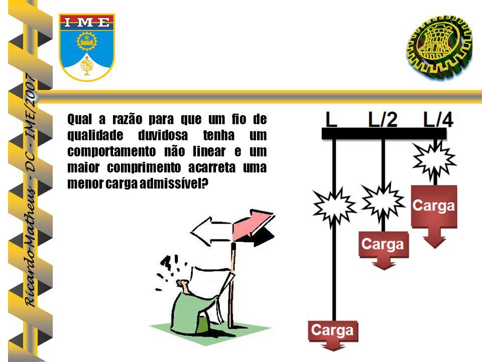 Ricardo Matheus - DC - IME/2007 Qual a razão para que um fio de qualidade duvidosa tenha um comportamento não linear e um maior comprimento acarreta u