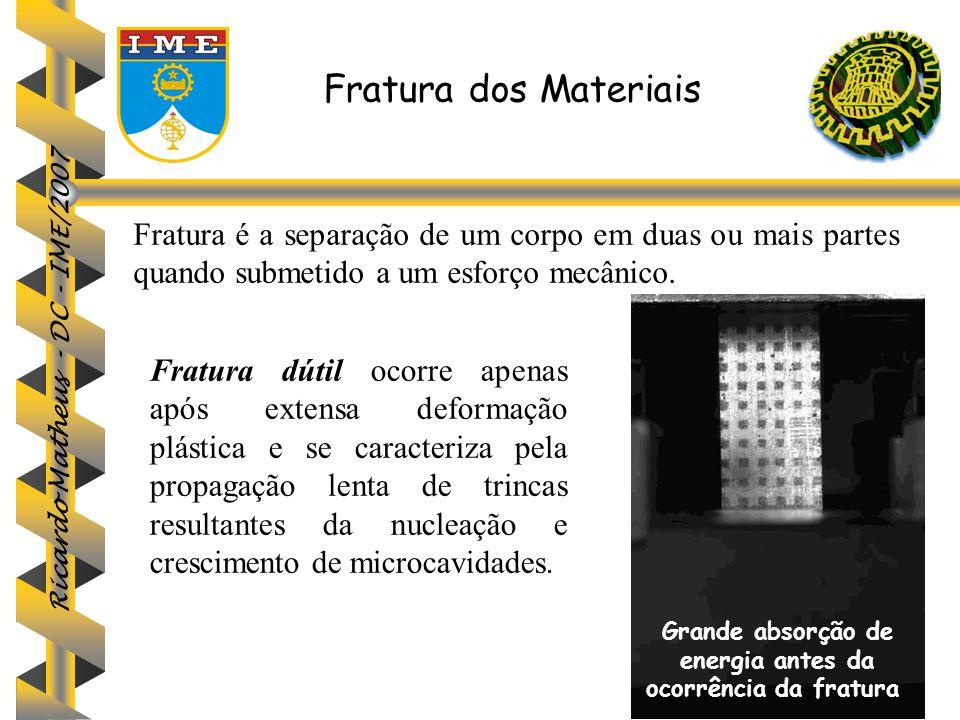 Fratura dos Materiais Fratura é a separação de um corpo em duas ou mais partes quando submetido a um esforço mecânico. Fratura dútil ocorre apenas apó