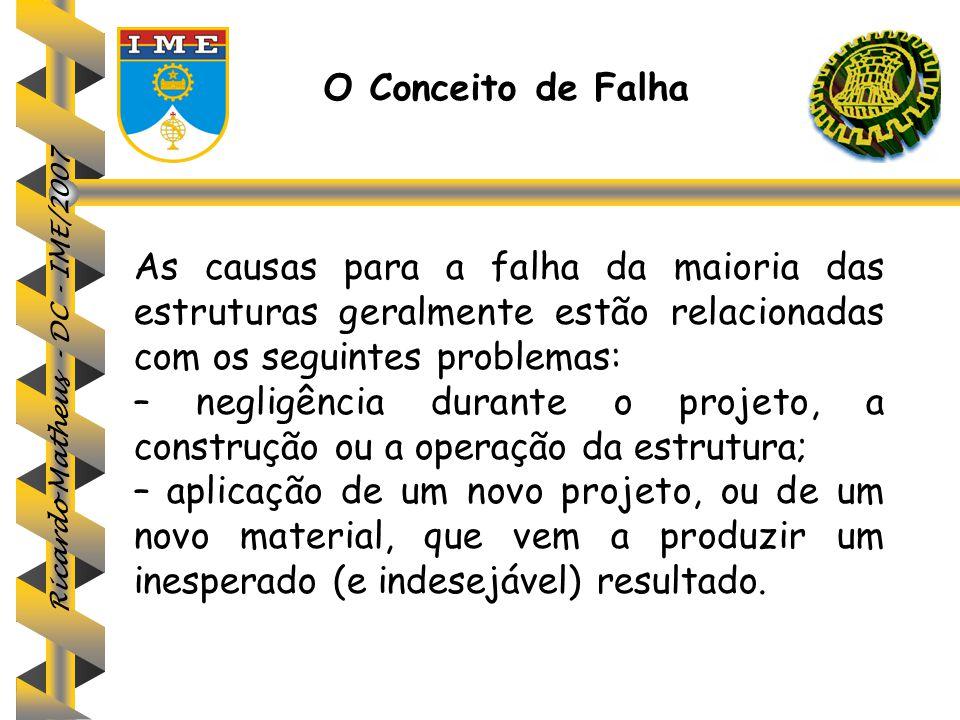 Ricardo Matheus - DC - IME/2007 O Conceito de Falha As causas para a falha da maioria das estruturas geralmente estão relacionadas com os seguintes pr