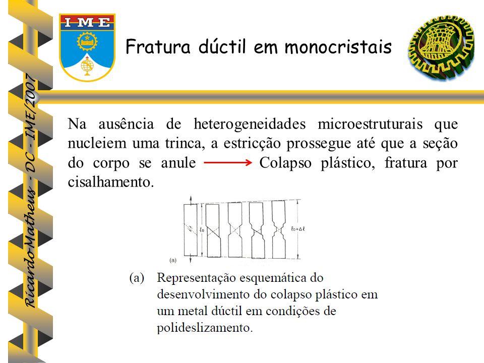 Ricardo Matheus - DC - IME/2007 Fratura dúctil em monocristais Na ausência de heterogeneidades microestruturais que nucleiem uma trinca, a estricção p