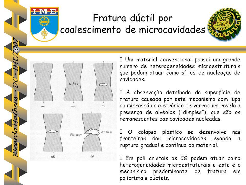 Ricardo Matheus - DC - IME/2007 Fratura dúctil por coalescimento de microcavidades  Um material convencional possui um grande numero de heterogeneida