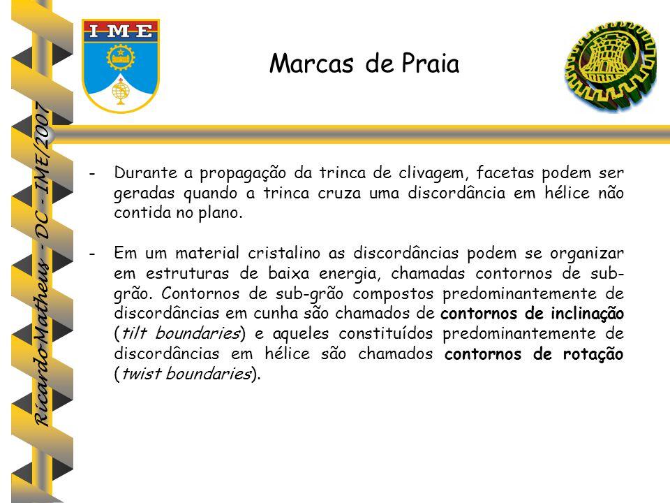 Ricardo Matheus - DC - IME/2007 Marcas de Praia -Durante a propagação da trinca de clivagem, facetas podem ser geradas quando a trinca cruza uma disco