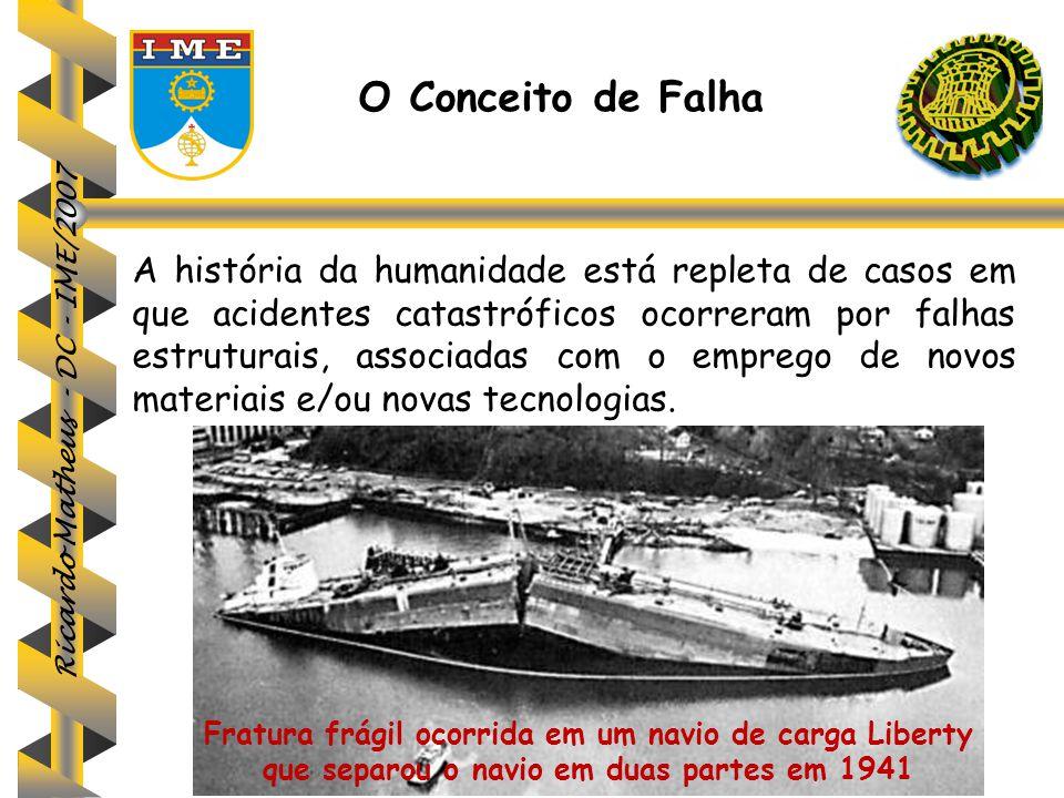 Ricardo Matheus - DC - IME/2007 A história da humanidade está repleta de casos em que acidentes catastróficos ocorreram por falhas estruturais, associ