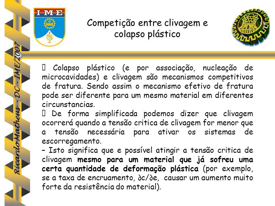 Ricardo Matheus - DC - IME/2007 Competição entre clivagem e colapso plástico  Colapso plástico (e por associação, nucleação de microcavidades) e cliv