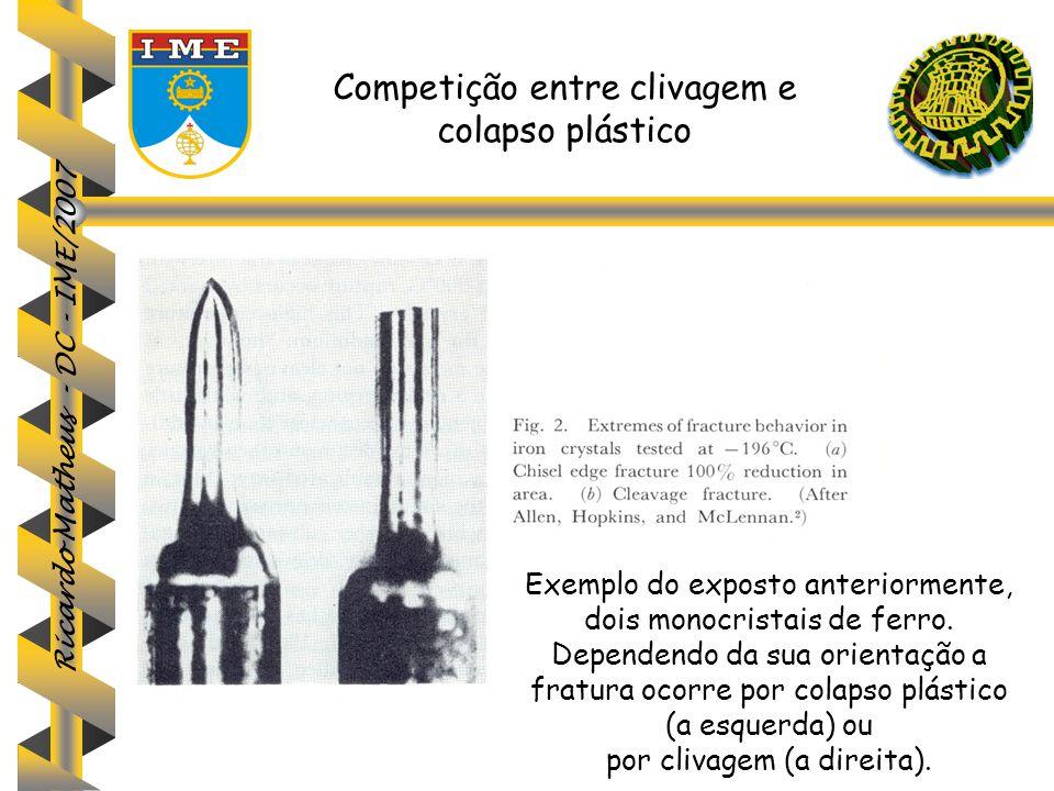 Ricardo Matheus - DC - IME/2007 Competição entre clivagem e colapso plástico Exemplo do exposto anteriormente, dois monocristais de ferro. Dependendo