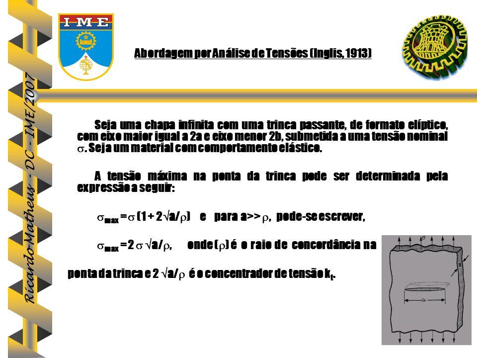 Ricardo Matheus - DC - IME/2007 Abordagem por Análise de Tensões (Inglis, 1913) Seja uma chapa infinita com uma trinca passante, de formato elíptico,